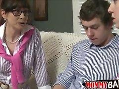 Huge boobs mature milf alexandra silk 3some on the couc