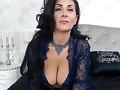 Raven Haired Milf Teasing In Sexy Lingerie