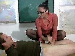 Student gets hand job punishment on a desk