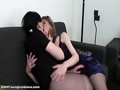 Nasty brunette lesbians get horny making out and rubbin