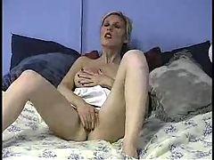 Hot blonde cheerleader masturbating
