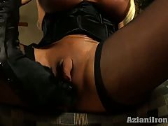 Panty stuffing and showing off her sexy big clit