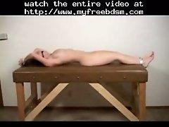 Naked babe tied up on the exam table bdsm bondage slav