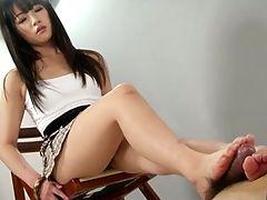 Hot little SCHOOLGIRL give an amazing footjob shoejob