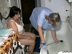 Dirty fat old woman gets her body rubbed in the shower