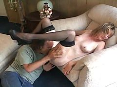Skinny Little Milf in Stockings Sucks and Fucks