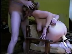 Handcuffed amateur mature toyed fucked and facialized