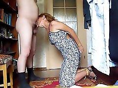 Bdsm slave wife gives Master nice blowjob