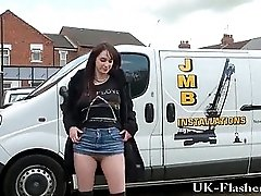 Daring outdoor masturbation of flashing english amateur babe