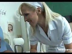 Naughty nurse gives big cock oral exam and sperm facial test