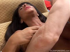 Busty older brunette loves to get fucked in her ass