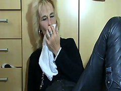 Pervert mature playing with her wet panties