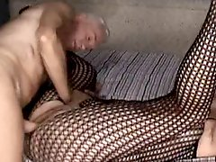 Old man fucks a thick chick he licks his cum off her tits