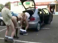 Slut wife dogging with a lot of men in parking Amateur