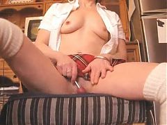Milf mature skoolgirl lollipop fucks wet cunt