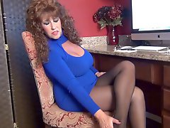 Samantha Legs is your Office Tease in pantyhose