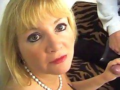 Black lingerie on this elegant cocksucking blonde