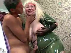 Blonde Busty Mature With Young Guy
