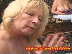 Granny eats CUM and LICKS and SUCKS ASS