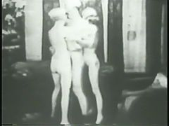 Two flappers dance naked with dude then rub and tug his cock together