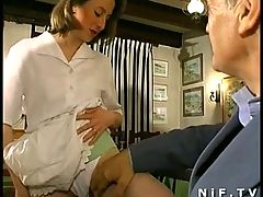 French milf in threesome with papy voyeur in a restaurant