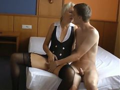 Blonde german mature fucked by younger guy