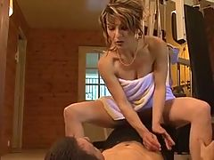French MILF and young guy in gym Includes anal
