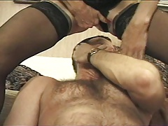 Squirting Granny Rides His Face & Cock