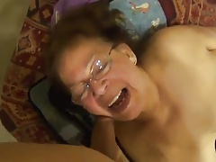 Mexican granny on couch