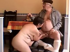 Very hot white haired Grandpa and Wife