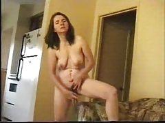 Mature wife masturbate standing in living room
