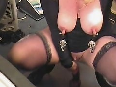 Pervert mature with clamps on nipples