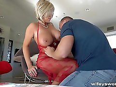 Busty Blonde With Huge Tits Slammed before Swallow