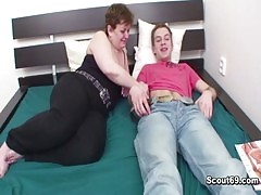 Mom talk young boy into fuck her asshole to give her cock juice
