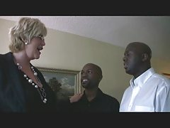 Mature blonde & two black guys 1