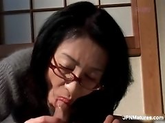 Gorgeous asian mom gets horny when see her son sleeping