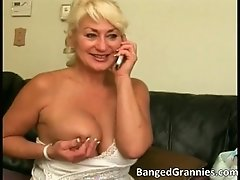 Hot blonde milf sucks stiff rod by bangedgrannies