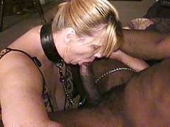 Collared whore wife is used by a bbc as husband films
