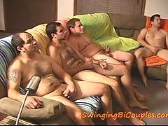 5 BI GUYS and 1 CUM eating WIFE