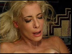 Mature gets big cock in ass and it pushes on her belly