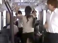Horny milf gangbang by geek on bus