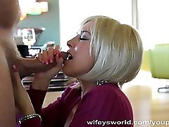 Blonde MILF With Huge Tits Swallows Cum