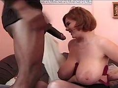 BBW redhead gets interracial facial