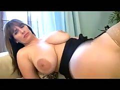 BBW MILF masturbates in stockings