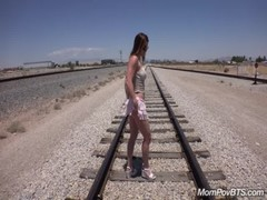 Fit Stripper MILF fucks on train tracks
