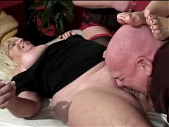 Four hot grannies and a horny grandpa in group twat munching and ass eating orgy