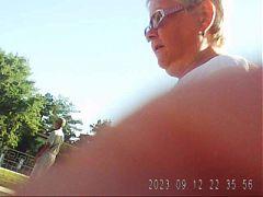 Granny with big tits and big ass! Amateur voyeur!