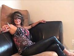 Ballbusting smoking model kicks male femdom slave