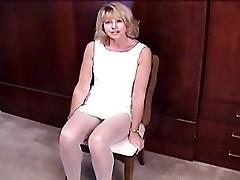 Meg fingering in white pantyhose