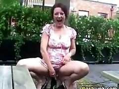 Wild mature woman flashing